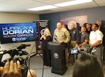 U.S. Army Maj. Gen. Van McCarty, the adjutant general for South Carolina, provided an update on the South Carolina National Guard in response to Hurricane Dorian during a press conference with South Carolina Gov. Henry McMaster, Sept. 1, 2019.  Approximately 1,000 South Carolina National Guard Soldiers and Airmen have reported to their units throughout the state to provide support to state partners.