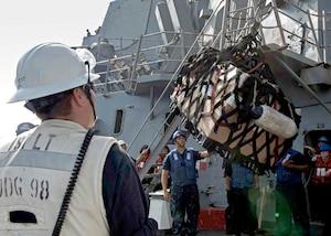 Image of sailors onboard a ship using a hook lift a cargo net of supplies.