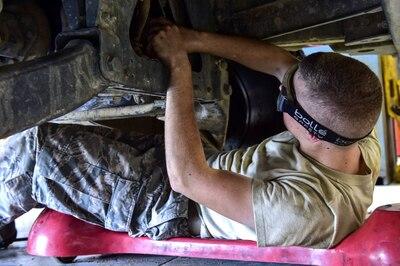 Man working on vehicle