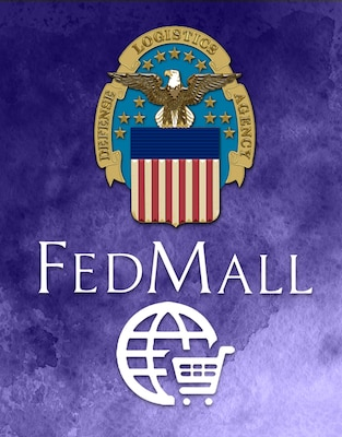 Graphic of the DLA  and Fed Mall Logos on a purple background.
