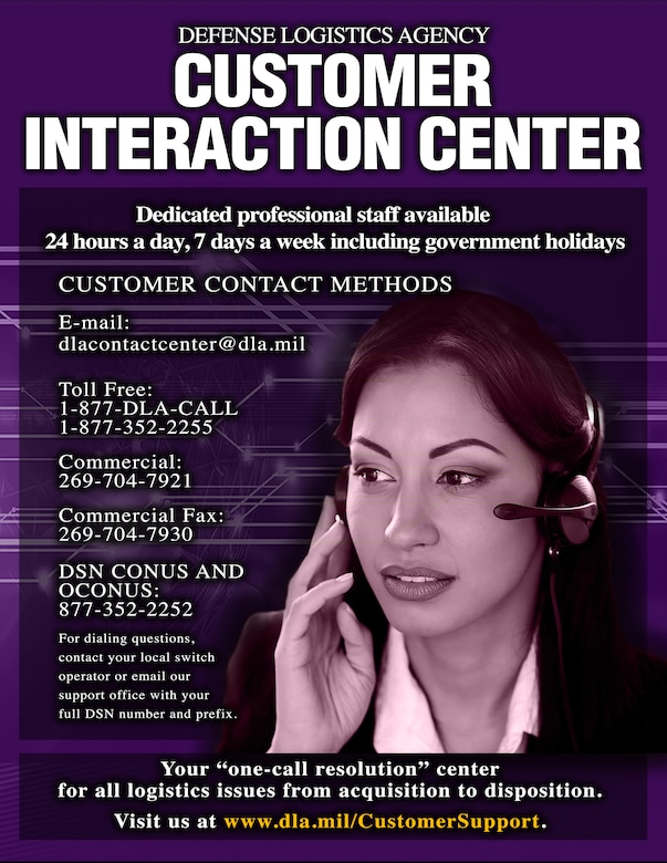 Infographic poster with Customer Interaction Center contact information with woman wearing headset.