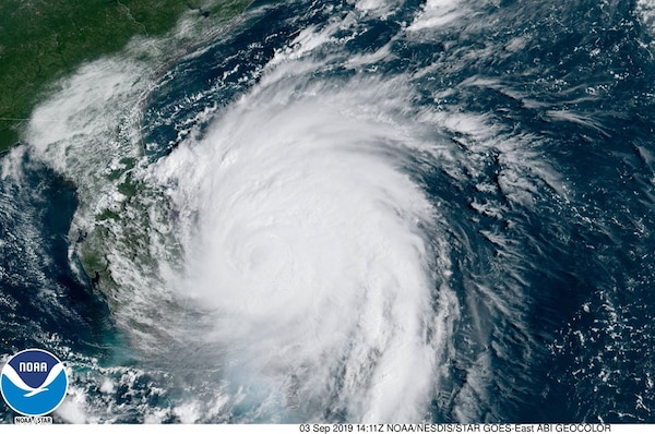 Satellite image of Hurricane Dorian just of the coast of Florida on Sept. 3, 2019. Image Courtesy National Hurricane Center, NOAA.