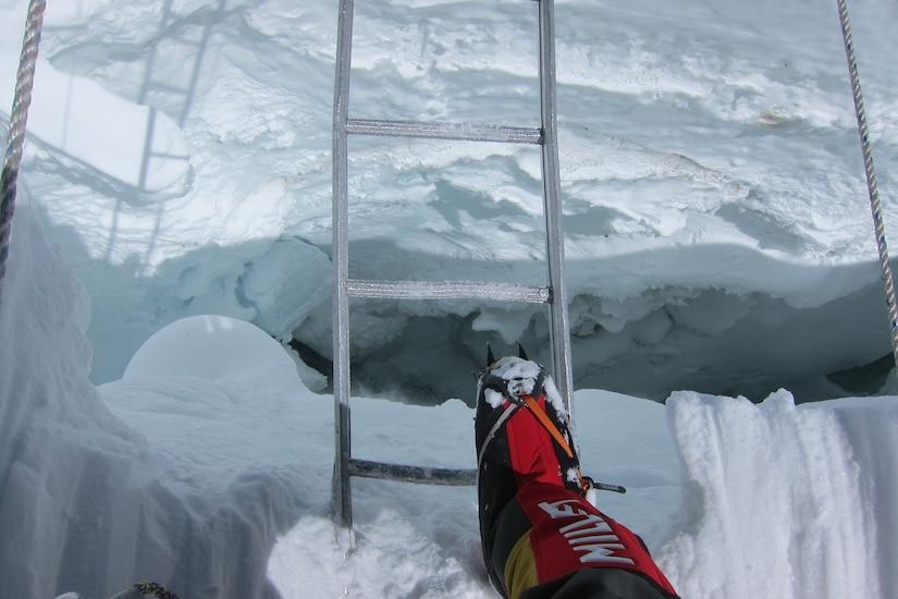 Crossing a crevasse.