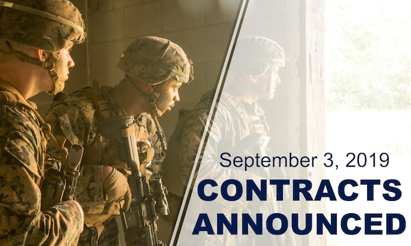 "Three marines stand inside doorway, looking out. Graphic reads: ""September 3, 2019 Contracts Announced."""