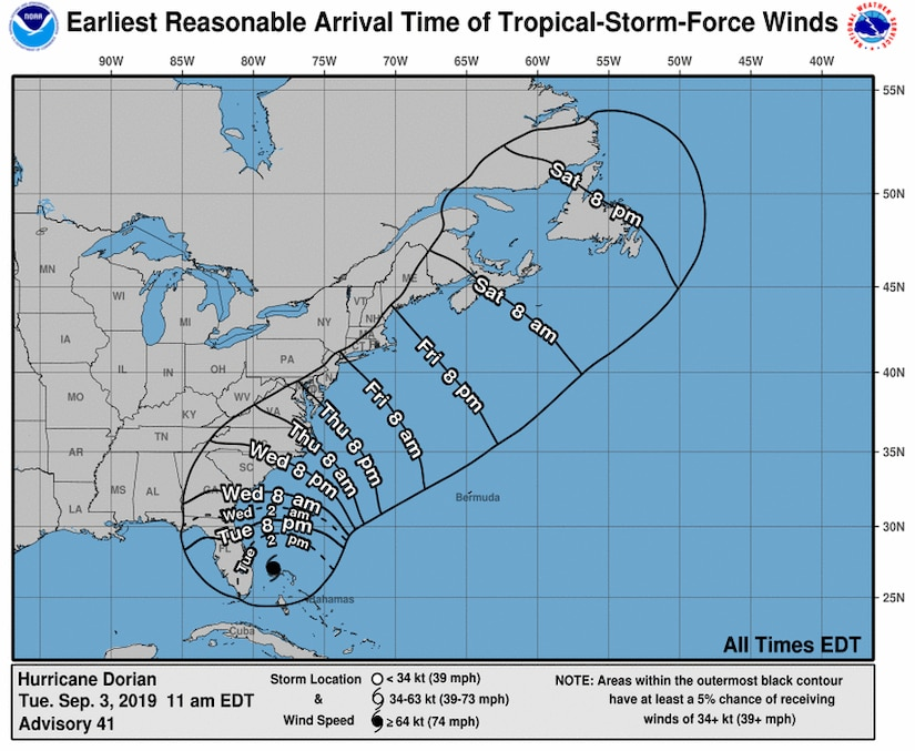 A map shows a possible track for Hurricane Dorian along the East Coast of the U.S.