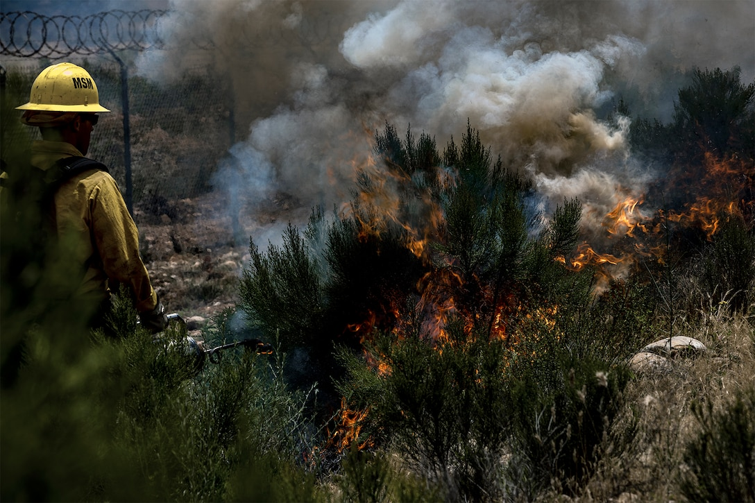 A firefighter wearing a yellow uniform watches over bushes and other vegetation as it burns. Thick smoke rises from the flames. To the left, concertina wire tops a fence.