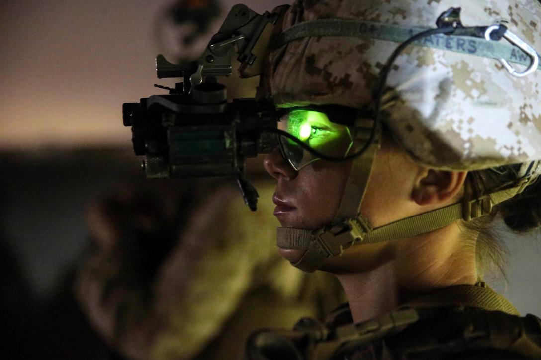 A Marine wearing a helmet.