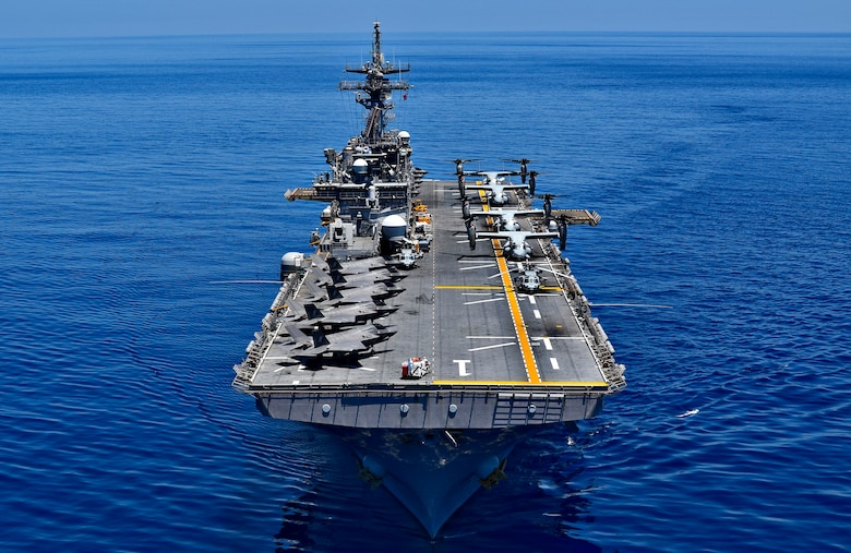 SOUTH CHINA SEA (March 29, 2019) The amphibious assault ship USS Wasp (LHD 1) transits the waters of the South China Sea. Wasp, flagship of Wasp Amphibious Ready Group, is operating in the Indo-Pacific region to enhance interoperability with partners and serve as a lethal, ready-response force for any type of contingency.