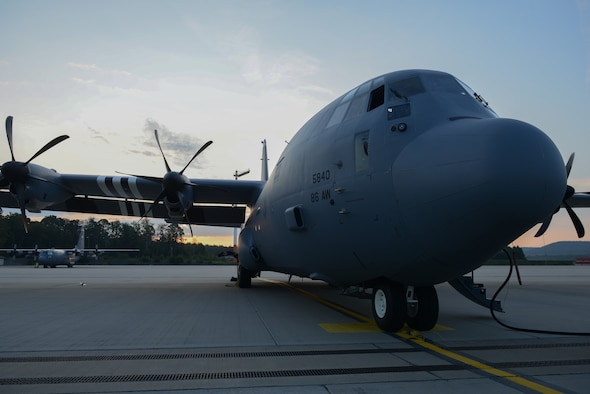 A C-130J Super Hercules aircraft sits on the flightline at Ramstein Air Base, Germany, Aug. 29, 2019.