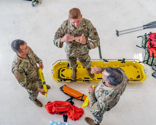 Florida National Guard members prepare for potential hurricane response missions in Opa-Locka, Florida, as outer winds from Hurricane Dorian hit the Florida coast, Sept. 2, 2019.