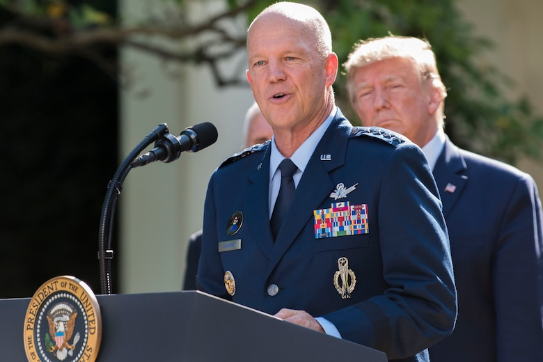The incoming commander of U.S. Space Command, Air Force Gen. John W. Raymond, speaks at the White House ceremony on the establishment of the U.S. Space Command, in Washington, D.C., Aug. 29.