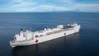 USNS Comfort  anchored off the coast of La Brea, Trinidad and Tobago.