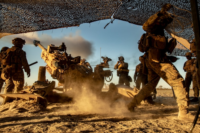 U.S. Marines with the Ground Combat Element, Marine Rotational Force - Darwin, fire an M777 howitzer during Exercise Koolendong at Mount Bundey Training Area, NT, Australia, Aug. 27, 2019. Koolendong is a live-fire bilateral exercise conducted to increase interoperability between U.S. Marines and the Australian Defence Force.