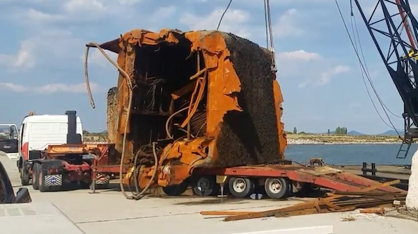 Hull Section Loaded onto Truck