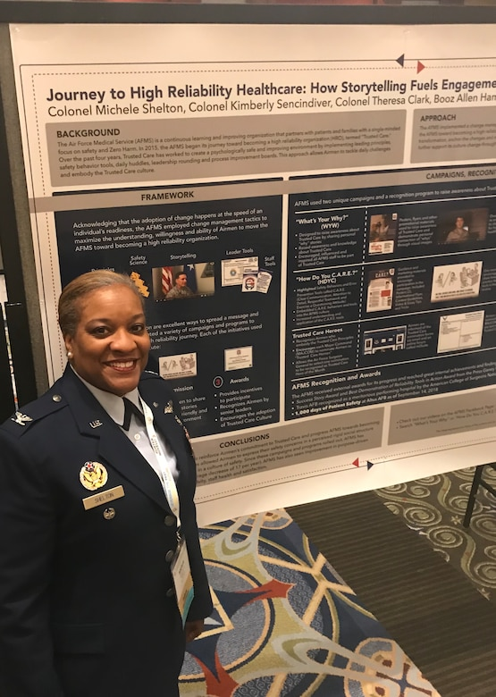 Col. Michele Shelton, U.S. Air Force Medical Service Trusted Care lead, stands next to a poster showcasing the effects of their three most recent campaigns at the National Conference on Health Communication, Marketing and Media in Atlanta, Georgia, August 14, 2019. The poster presentation highlighted the impact their three campaigns - What's Your Why, How Do You C.A.R.E., and Trusted Care Heroes – have had on Airmen behavior and, ultimately, patient outcomes. (Courtesy photo)