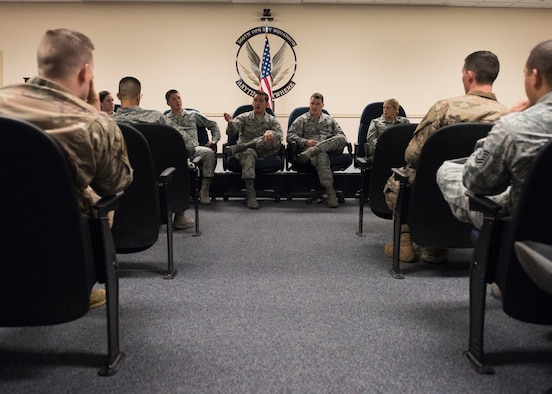 U.S. Air Force officers answer questions from enlisted Airmen August 27, 2019 on Mountain Home Air Force Base, Idaho. Officers hold commissioning panels for enlisted Airmen who have questions about the commissioning process. (U.S. Air Force photo by Airman Natalie Rubenak)