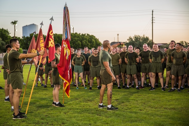 U.S. Marines with Marine Air Control Squadron (MACS) 1 participate in their motivational run at Marine Corps Air Station Yuma, Ariz., August 30, 2019. The unit conducted their motivational run to start off their 96-hour liberty period for Labor Day. (U.S. Marine Corps photo by Cpl. Sabrina Candiaflores)