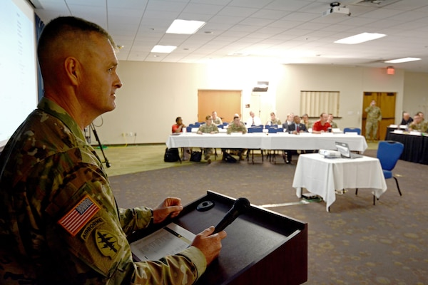 Sgt. Maj. Litt Moore, Health Readiness Center of Excellence Capabilities Development and Integration Directorate Sergeant Major, moderating the Inaugural Operational Medicine Summit Aug. 26-28 at Joint Base San Antonio-Fort Sam Houston.