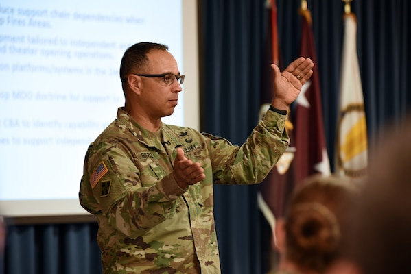 Col. Enrique Ortiz Jr., Chief, Medical Integrations, U.S. Army Futures Command, providing an overview of AFC structure and operations.