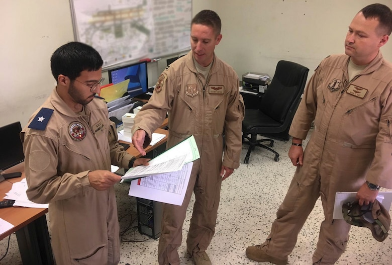 Members of the West Virginia Air National Guard's 130th and 167th Airlift Wing discuss current operations planning and procedures with representatives of the Qatari Emiri Air Force Aug. 17., 2019, at Al Udeid Air Base, Qatar. The subject matter expert exchange was the second WVANG-QEAF partnership meeting to be held since the announcement of the new partnership in May 2018, which marked the second partner nation for the WVNG and the sixth SPP country in the U.S. Central Command area of responsibility for the National Guard. (Courtesy photo)