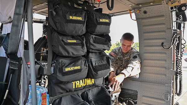 Crew members from the West Virginia National Guard's Company C., 2-104th General Support Aviation Battalion, located in Williamstown, W.Va., prepare to deploy to South Carolina in support of Hurricane Dorian response and recovery operations Sept. 4, 2019. Eight Soldiers from the aeromedical evacuation crew will be on standby for a week to provide assistance as needed. (U.S. Army National Guard photo by Edwin Wriston)