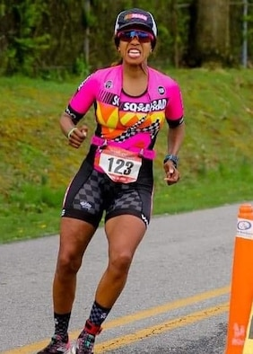 Col. Yvonne Spencer rounds the final turn of the run portion of the Hagerstown Duathlon April 20 in Hagerstown, Maryland. She earned 1st place in the masters women's division.