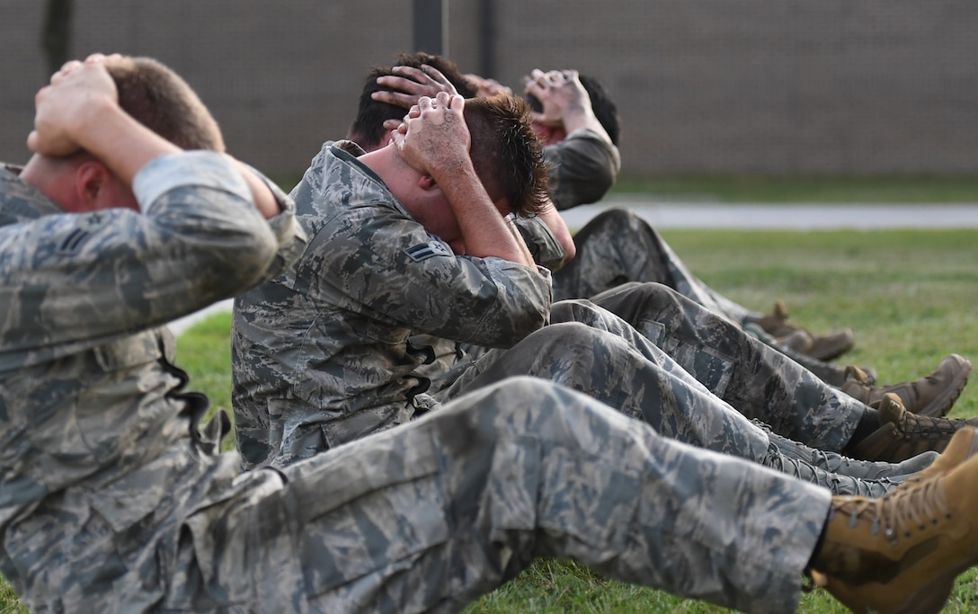 Special Warfare trainees from the 352nd Special Warfare Training Squadron participate in a memorial physical training session outside of Matero Hall on Keesler Air Force Base, Mississippi, Aug. 9, 2019. The PT event was in memory of U.S. Air Force Staff Sgt. Andrew Harvell, combat controller, who was killed in action on Aug. 6, 2011. Special Warfare trainees also attend courses in the 334th and 335th Training Squadrons. (U.S. Air Force photo by Kemberly Groue)