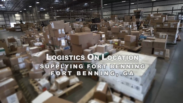 Hundreds of boxes are stacked in a warehouse located in Fort Benning, Georgia.