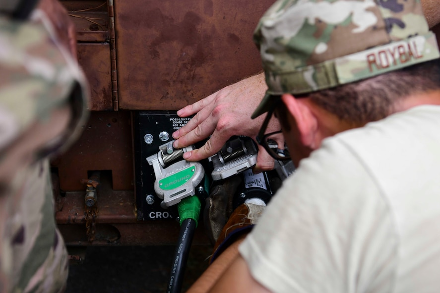 Senior Airman Fred Roybal, 4th Civil Engineer Squadron power and production journeyman, connects electrical lines to a generator ahead of Hurricane Dorian Sept. 4, 2019, at Seymour Johnson Air Force Base, North Carolina. The 4th CES, to include equipment operators, electricians, plumbers, structural craftsman, heating, ventilation and air conditioning, and production technicians, are providing 24-hour response and recovery operations during and following Hurricane Dorian. (U.S. Air Force photo by Senior Airman Boyton)
