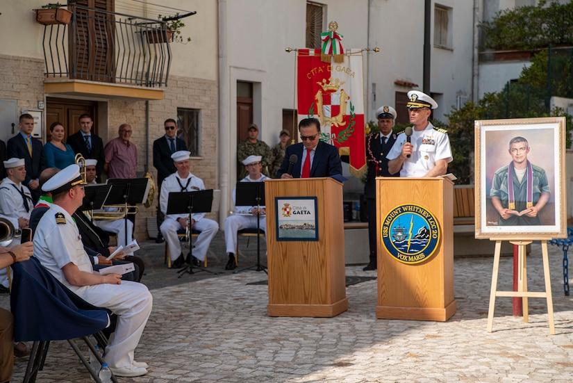 USS Mount Whitney Holds Memorial Service For Navy Chaplain
