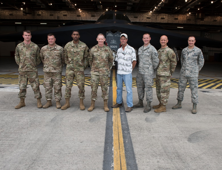 Major General James Dawkins Jr., Eighth Air Force commander, poses for a photo with members of the 509th Bomb Wing, on August 27, 2019, at Royal Air Force Base Fairford, England. Members of Whiteman Air Force Base, Missouri, along with along strategic partners have deployed as part of a Bomber Task Force to the European Command area of operations to conduct theater integration and flying training. (U.S. Air Force photo by Staff Sgt. Kayla White)
