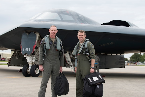 Major General James Dawkins Jr., Eighth Air Force commander, poses for a photo with a pilot call sign Heat, assigned to the 509th Bomb Wing, at Royal Air Force Base Fairford, England, on August 28, 2019. Dawkins flew in a B-2 Spirit during his visit to engage with members of Whiteman Air Force Base, Missouri, who had deployed to Royal Air Force Fairford as a Bomber Task Force to conduct theater integration and flying training. (U.S. Air Force photo by Staff Sgt. Kayla White)