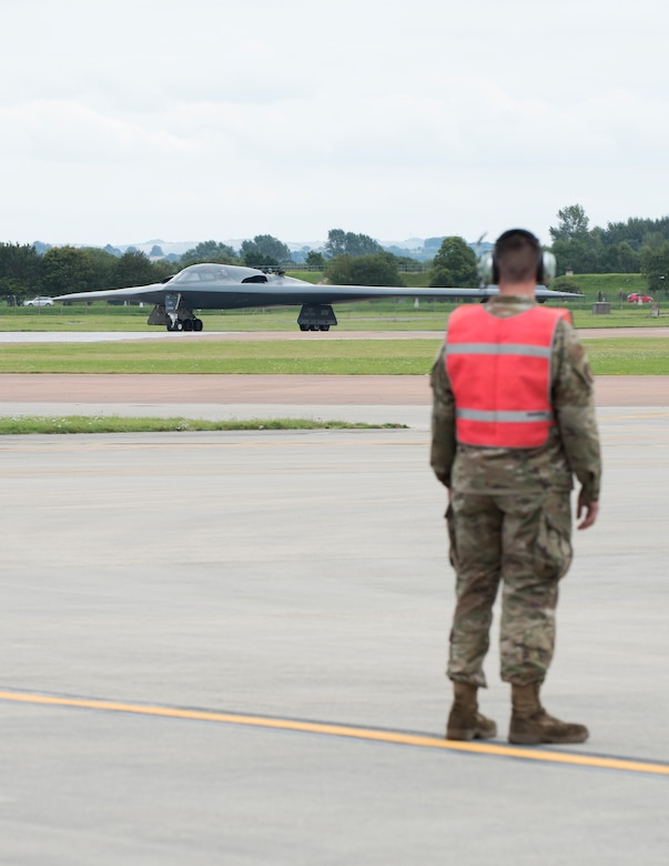 Major General James Dawkins Jr., Eighth Air Force commander, taxis in a B-2 Spirit on the flight line of Royal Air Force Base Fairford, England, on August 28, 2019. Dawkins flew the stealth bomber during his visit to engage with members of Whiteman Air Force Base, Missouri, who had deployed to Royal Air Force Fairford as a Bomber Task Force to conduct theater integration and flying training. (U.S. Air Force photo by Staff Sgt. Kayla White)