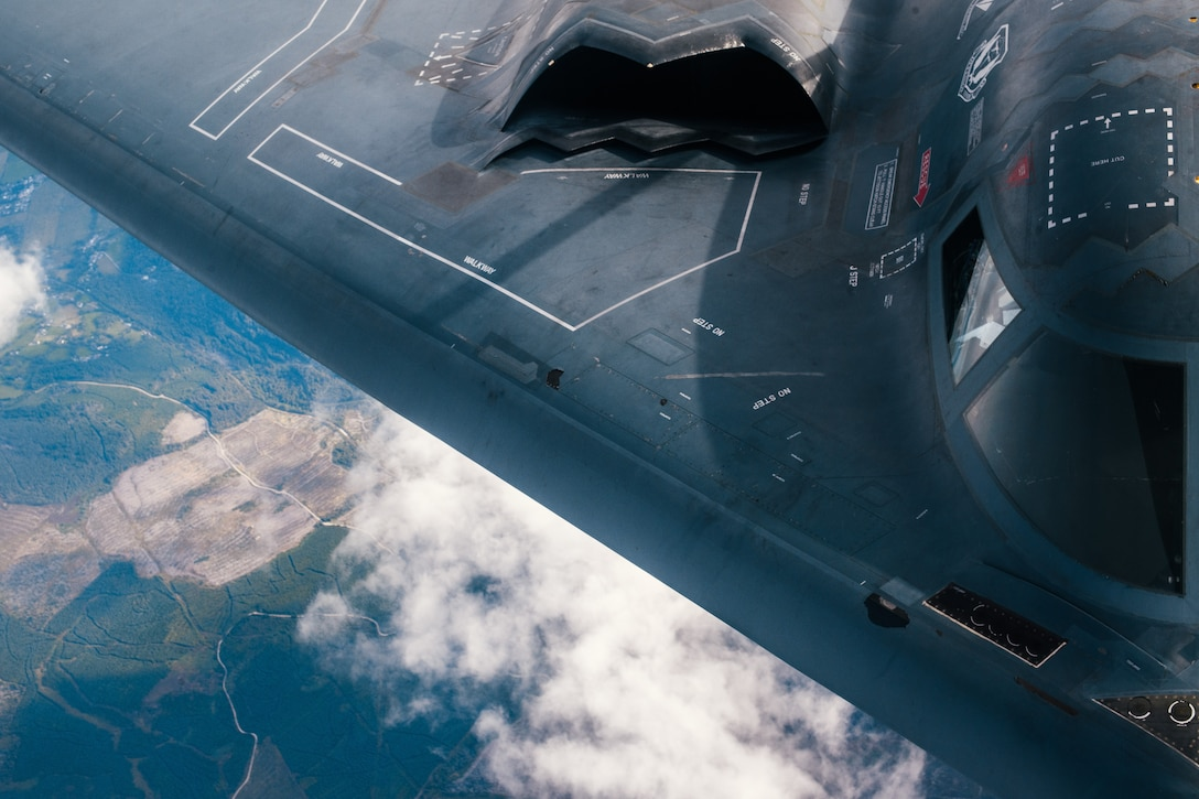 A U.S. Air Force 509th Bomb Wing B-2 Spirit refuels from a 351st Aerial Refueling Squadron KC-135 Stratotanker during the Bomber Task Force training exercise over England, Aug. 29, 2019.