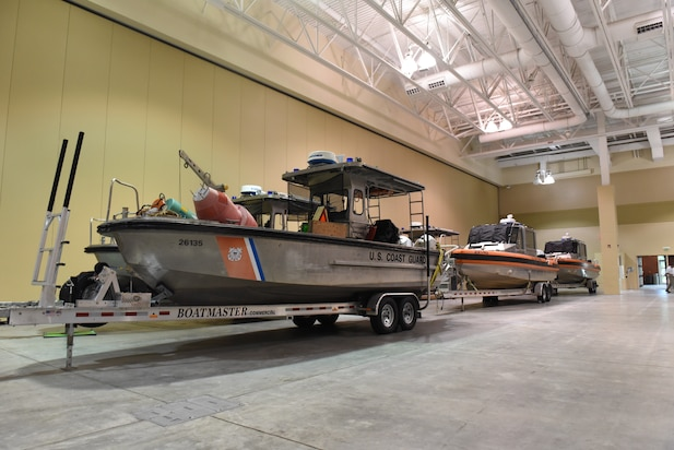 26-foot TANB and 29-foot Response vessels on trailers at the Hurricane Dorian Incident Command Post for Coast Guard Sector Charleston.