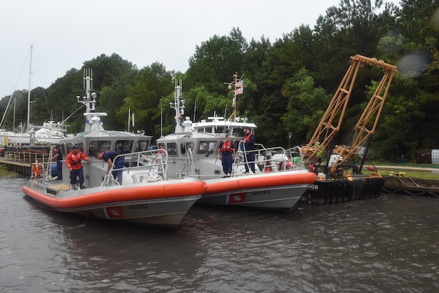 Crewmembers from Coast Guard Stations Charleston and Georgetown secure 45-foot response boats during Hurricane Dorian preparations in Charleston, South Carolina, Sept. 4, 2019.