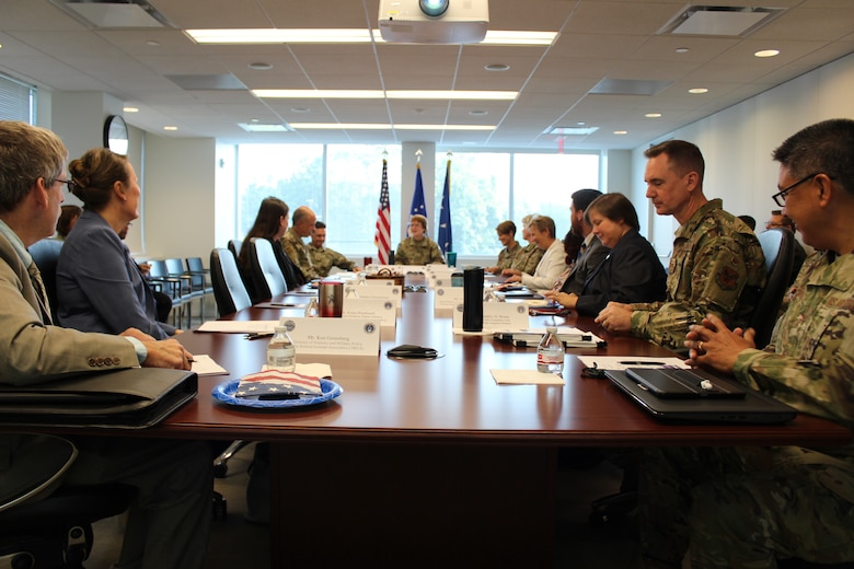 Lt. Gen. Dorothy Hogg, U.S. Air Force Surgeon General, center, leads a discussion with representatives of military and veteran service organizations at the Defense Health Headquarters in Falls Church, Virginia, Sept. 4, 2019. (U.S. Air Force photo by Josh Mahler)