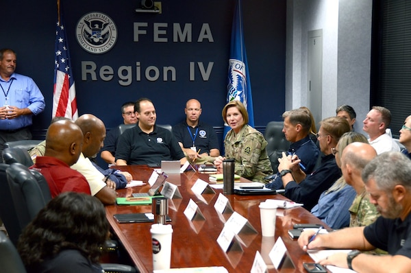 Lt. Gen. Laura Richardson, U. S. Army North (Fifth Army) commanding general, met with leaders at the Federal Emergency Management Agency Region IV Regional Response Coordination Center to discuss Hurricane Dorian response efforts in Florida, Georgia, South Carolina and North Carolina.