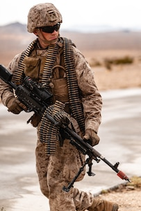 A U.S. Marine with 3rd Battalion, 7th Marine Regiment, 1st Marine Division, patrols during counter improvised explosive device training at Marine Corps Air Ground Combat Center, Twentynine Palms, Calif., July 25, 2019. The training was designed to improve the confidence and proficiency in the skill sets Marines and sailors need to operate in an urban environment. (U.S. Marine Corps photo by Lance Cpl. Colton Brownlee)