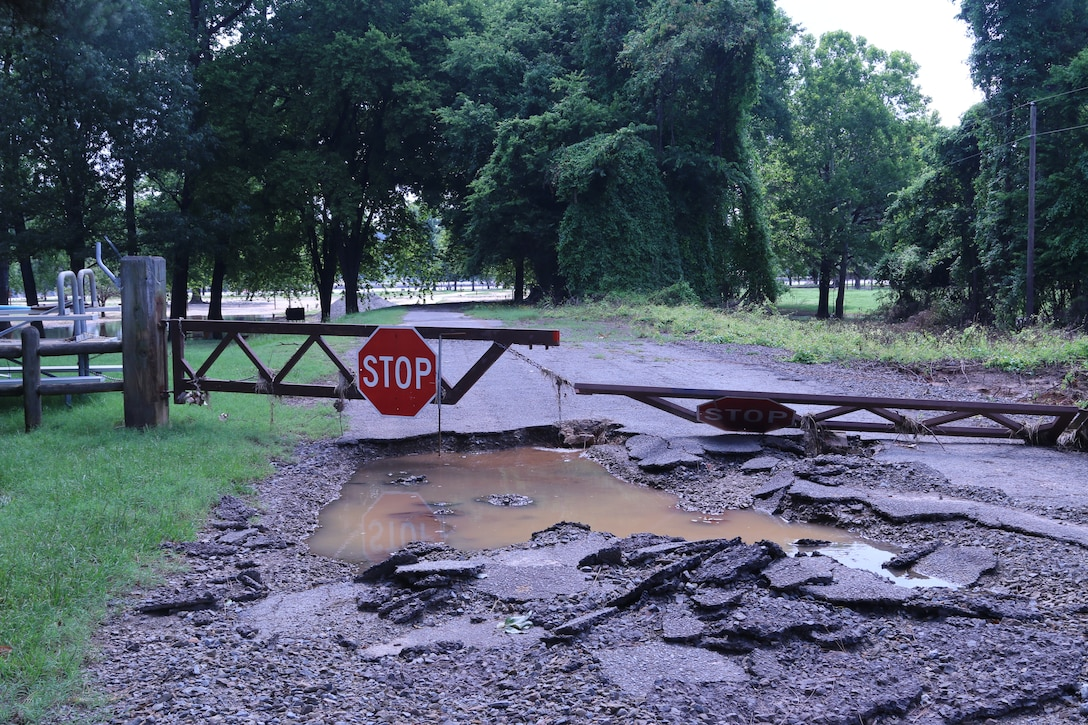The entrance to Toad Suck Park was severely damaged during the spring flood of 2019. Flows at Toad Suck Ferry Lock and Dam near Conway, Arkansas were around 549,000 c.f.s. at the height of the flooding event.