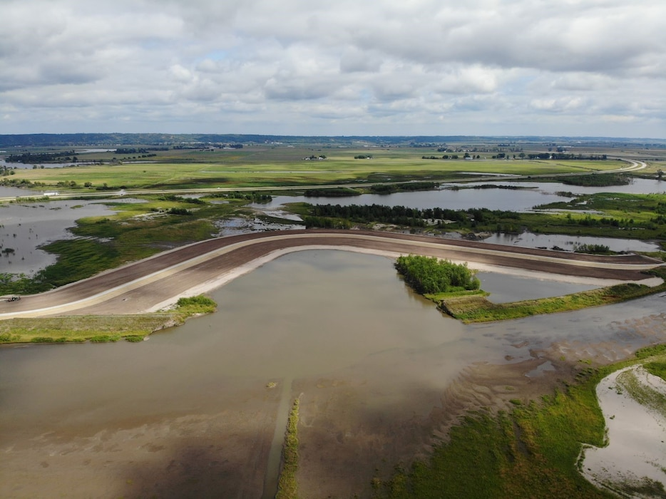 Aerial photo from the north side of the completed levee setback on L611-614 Levee System taken Sept. 1, 2019.