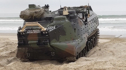 The Remote Control Assault Amphibious Vehicle (RC AAV) is pictured after completing one of its successfully-completed 22 surf zone crossings while undergoing testing at Marine Corps Systems Command (MCSC) United States Marine Corps' (USMC) Amphibious Vehicle Test Branch. The testing of the newly modernized RC AAV is the result of a collaborative effort between the Naval Surface Warfare Center Panama City Division and the United States MCSC.