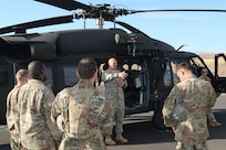 Soldiers with the 16th Combat Aviation Brigade provide medevac training to Illinois Army National Guard Soldiers from the 1844th Transportation Company as part of Rising Thunder 2019 at Yakima Training Center in Yakima, Washington, August 30, 2019.