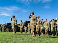 U.S. Soldiers with 2-130th Infantry Regiment, 33rd Infantry Brigade Combat Team, Illinois Army National Guard, render the salute during the opening ceremony of Rising Thunder 19 at Yakima Training Center, Yakima, Wash., Aug. 30, 2019.