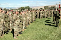 U.S and Japanese soldiers attend the opening ceremony of Rising Thunder 2019 hosted by the 7th Infantry Division at Yakima Training Center in Yakima, Washington, August 30, 2019.