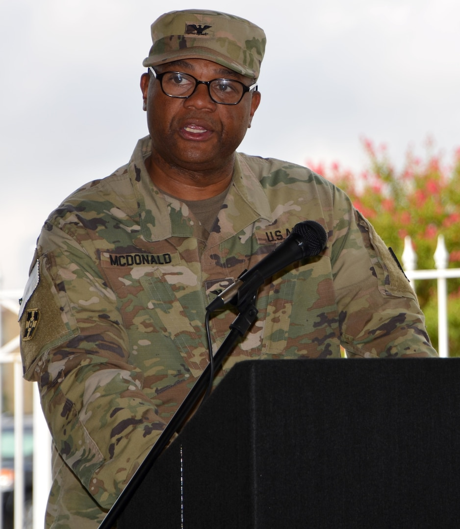 Col. Robert McDonald thanks those in attendance at the 410th Contracting Support Brigade uncasing ceremony for recognizing the brigade's Soldiers upon their return from a nine-month deployment Sept. 5 at Joint Base San Antonio-Fort Sam Houston. The brigade served as the command element for Army Contracting Command-Afghanistan. McDonald is the 410th CSB commander.