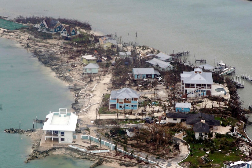 Aerial view of destroyed houses.