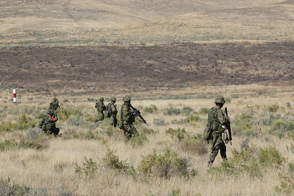Soldiers of the Japan Ground Self-Defense Force participate in live fire exercise during Rising Thunder, Sep. 1, at the Yakima Training Center in Yakima, Washington.