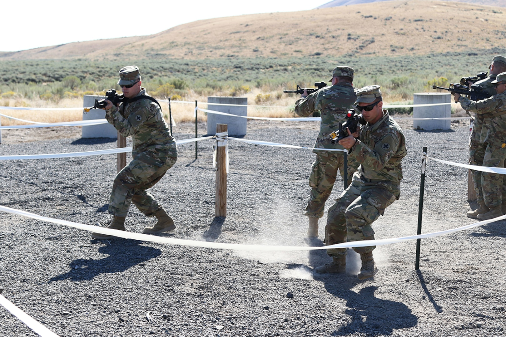 Infantrymen from D Co, 2nd Battalion, 130th Infantry Regiment, Illinois Army National Guard, rehearse room clearance drills as part of Rising Thunder 19 at the Yakima Training Center in Yakima, Washington, Sept. 1, 2019