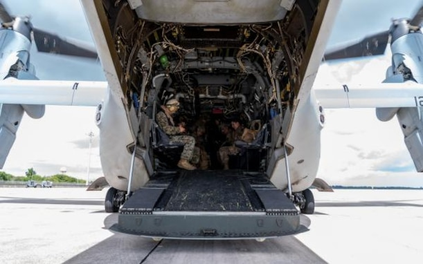 In support of Foreign Disaster Relief efforts in The Bahamas, Airmen from the U.S. Air Force's Crisis Response Group board a Marine Corps MV-22 Osprey from the Navy's USS Bataan at Homestead Air Reserve Base, Florida, Sept 4, 2019.